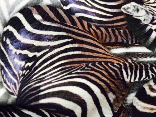 4 Stretch Jersey 160cm wide ZEBRA Animal Print Fabric Elastane Spandex Lycra