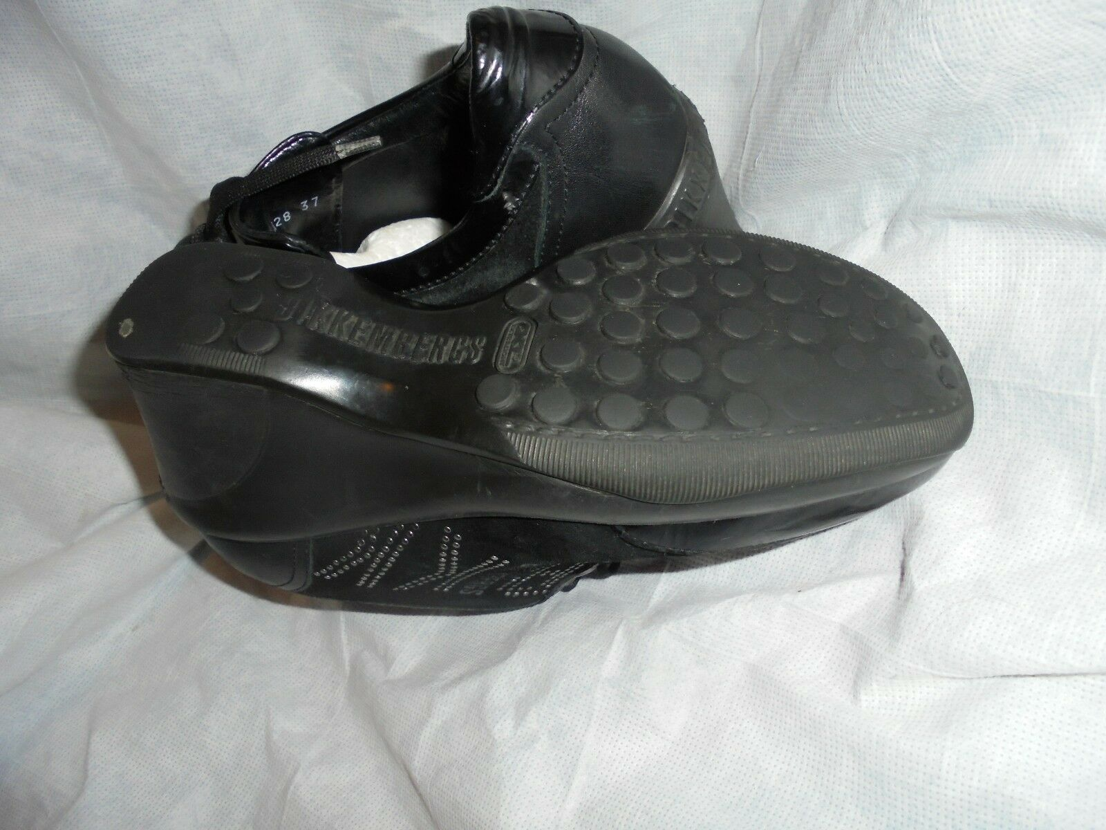 BIKKEMBERGS WOMEN BLACK LEATHER SIZE  ZIP/BUCKLE WEDGE TRAINERS SIZE LEATHER UK 4 EU 37 VGC 00a3f3