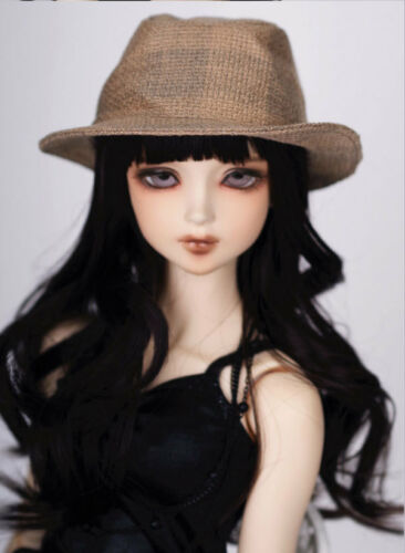 "8-9/"" 1//3 BJD Long Black Curly Wave Wig LUTS Doll SD DZ DOD MSD Soom Hair HUAL"