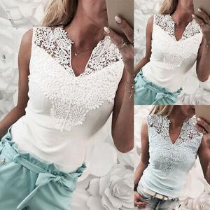 Women-Sleeveless-V-Neck-T-Shirt-Casual-Lace-Hollow-Slim-Summer-Tank-Top-Blouse
