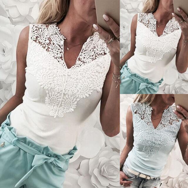 Women's Sleeveless V-Neck Lace Crochet T-Shirt Summer Casual Tank Top Blouse US