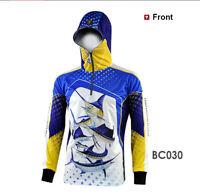 Mens Fishing Shirt Hooded Print Long Sleeve Lightweight Breathable Uv Protection