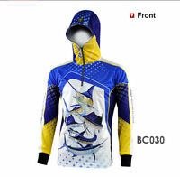 Mens Fishing Shirt Hooded Print Long Sleeve Lightweight Breathable Uv Protection