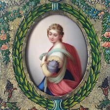 Porzellan Gemälde Porzellan Bildplatte Hl. Barbara E. Ens Lauscha Miniatur ~1860