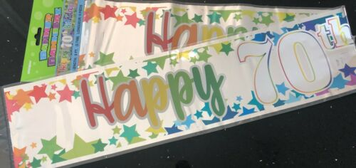 Multi /& Silver Foil 70th Birthday Banner 2.6m will split into 3 70th Party