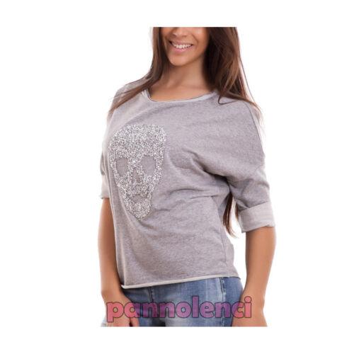 Felpa donna maglia TESCHIO strass maniche 3//4 maglietta cotone nuova CR-1995