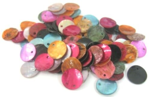 LOT de 20 PERLES rondes plates SEQUINS NACRE NATUREL 15mm MULTICOLORES bijoux