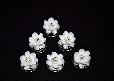 6 Curlies Haarschmuck Haarnadeln Braut Strass Blume Weiß, Ivory
