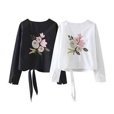 New Women Ladies Embroidered Floral Long Sleeve Cotton Blouse Tops Casual Shirt