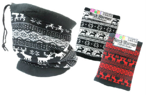 Adults Mens Ladies Reindeer Aztec Neck Warmer Snood Scarf Balaclava Hat Mask