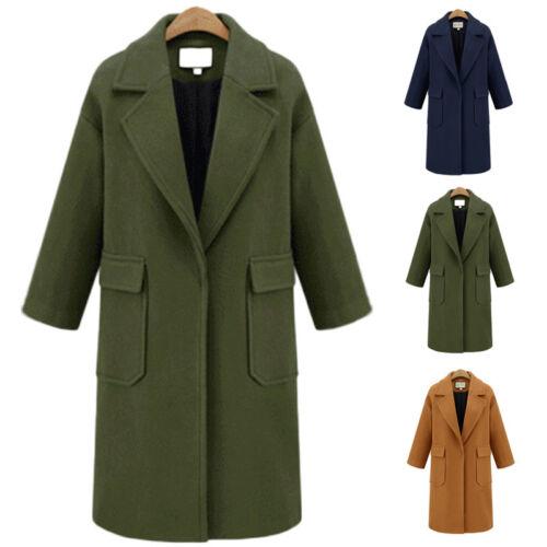 Kvinder Lang Slank Outwear Winter Overcoat Jakke Lapel Frakke Trench Parka L9 Uld IqIrX