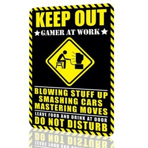 Metal-Sign-Humor-KEEP-OUT-Gamer-at-Work-DO-NOT-DISTURB-Video-Game-Arcade-Decor