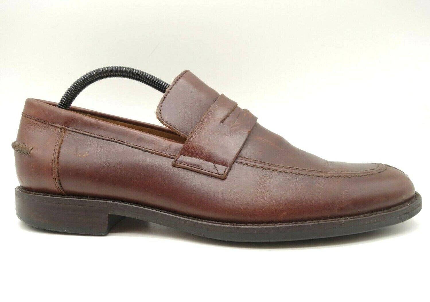 Johnston Murphy Brown Sheepskin Leather Split Toe Penny Loafers Shoes Men's 11 M