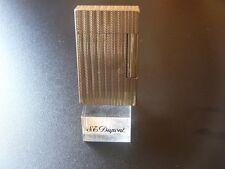 S T Dupont Line 2 Large Lighter Gold Plated - Herringbone Design