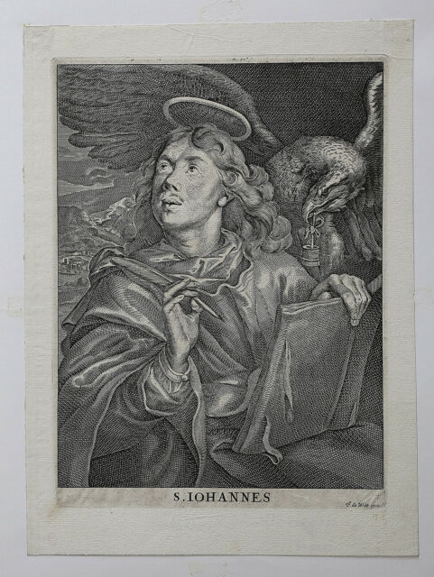Frederik de wit (1630-1706) Saint Jean Engraving Iohannes Stamp of Collection
