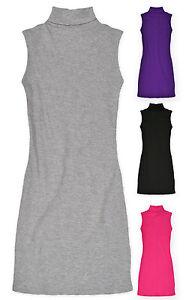 Filles-Sans-Manches-Encolure-Polo-cotelee-Top-KIDS-Robe-tunique-rose-gris-noir-Taille-3-13-Ans
