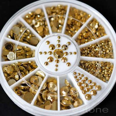 Mixed Sizes Nail Art Decoration DIY 3D Acrylic Glitter Stickers Gold Beads Wheel