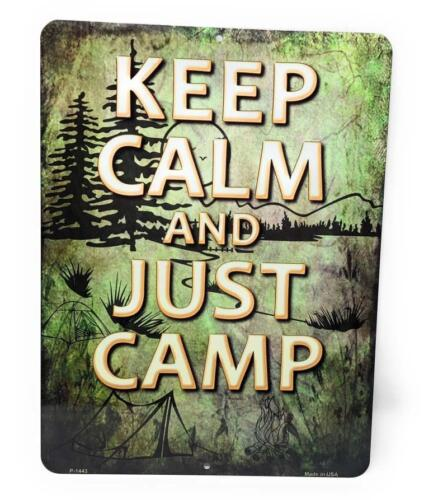 """Keep Calm and Just Camp Novelty Campsite RV Tent 9/"""" x 12/"""" Aluminum Sign"""