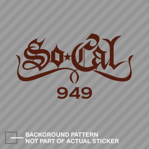 So Cal 949 Sticker Decal Vinyl Pride Represent SoCal