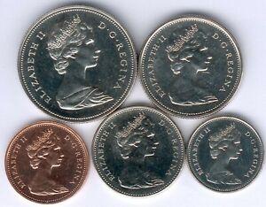 Minisatz-Canada-1-5-10-25-und-50-Cent-1975-vz-zu-fast-vz-st-aus-PP