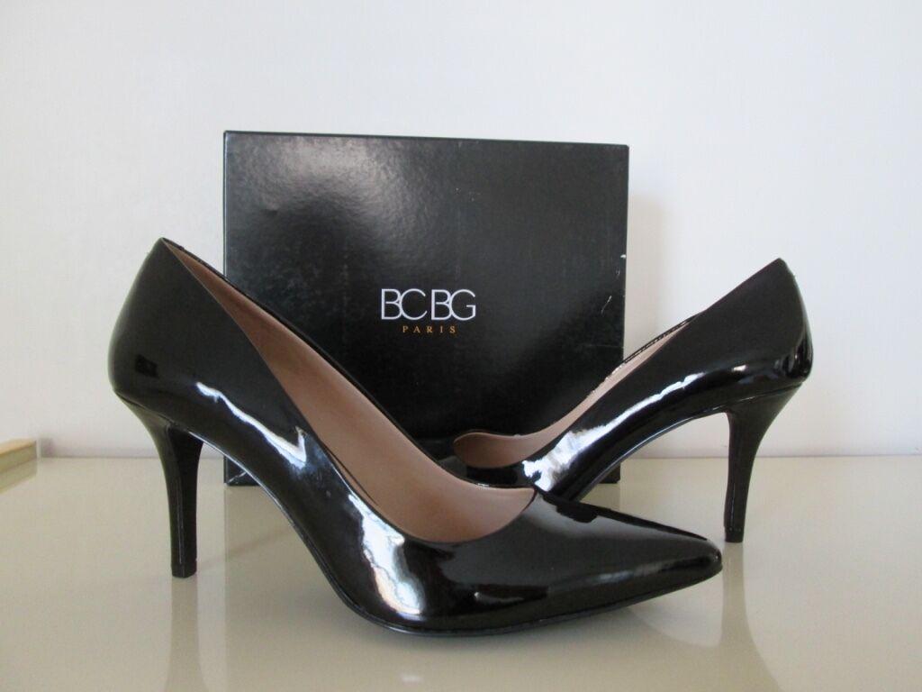 Nuevo En Caja Bcbgeneration Paris Jaze Negro Zapatos-Talla Cuero Puntera Puntiaguda Bombas Tacones Zapatos-Talla Negro 8M 377f0b