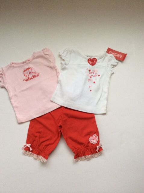 New Gymboree Valentine's Day Top Pants Set 3-6 Months Daddy's Hearts Lot