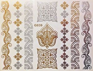 tattoo einmal flash klebe temporary gold silber 9teile henna armband kette g39 ebay. Black Bedroom Furniture Sets. Home Design Ideas