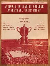 1945 NIT Championship Program De Paul, George Mikan