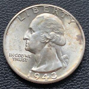 -- + 1943 Washington Quarter Almost Uncirculated Looks BU ! -