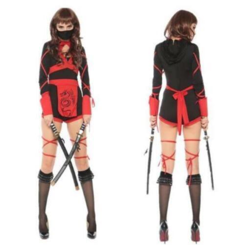 Halloween Ninja Cosplay Jumpsuit Warrior Short Women//Girls Costume Fancy Dress