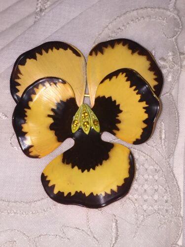 Vtg Pansy Gold Chocolate Enamel Flower Amber Rhine