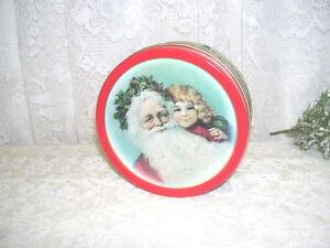 Vintage-Victorian-Santa-Claus-Coaster-Set-of-six-with-Tin-Box