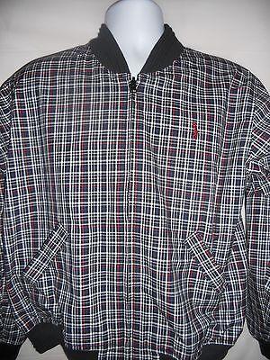 Izod Men's Reversible Golf Jacket Windbreaker Plaid Lined Size Medium Vintage
