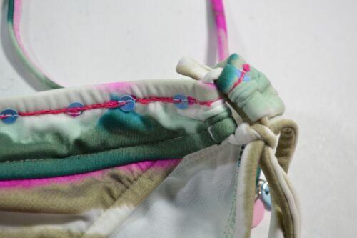 Roxy CHA CHA Pink Teal Sage Tan Low Side Tie Low Rise Junior/'s Bikini Bottom