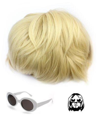 Kurt Cobain perruque et blanc verres Nirvana Costume Teen Spirit Grunge robe fantaisie