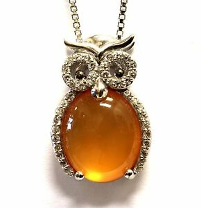 New 925 sterling silver white sapphire carnelian owl pendant image is loading new 925 sterling silver white sapphire carnelian owl aloadofball Image collections