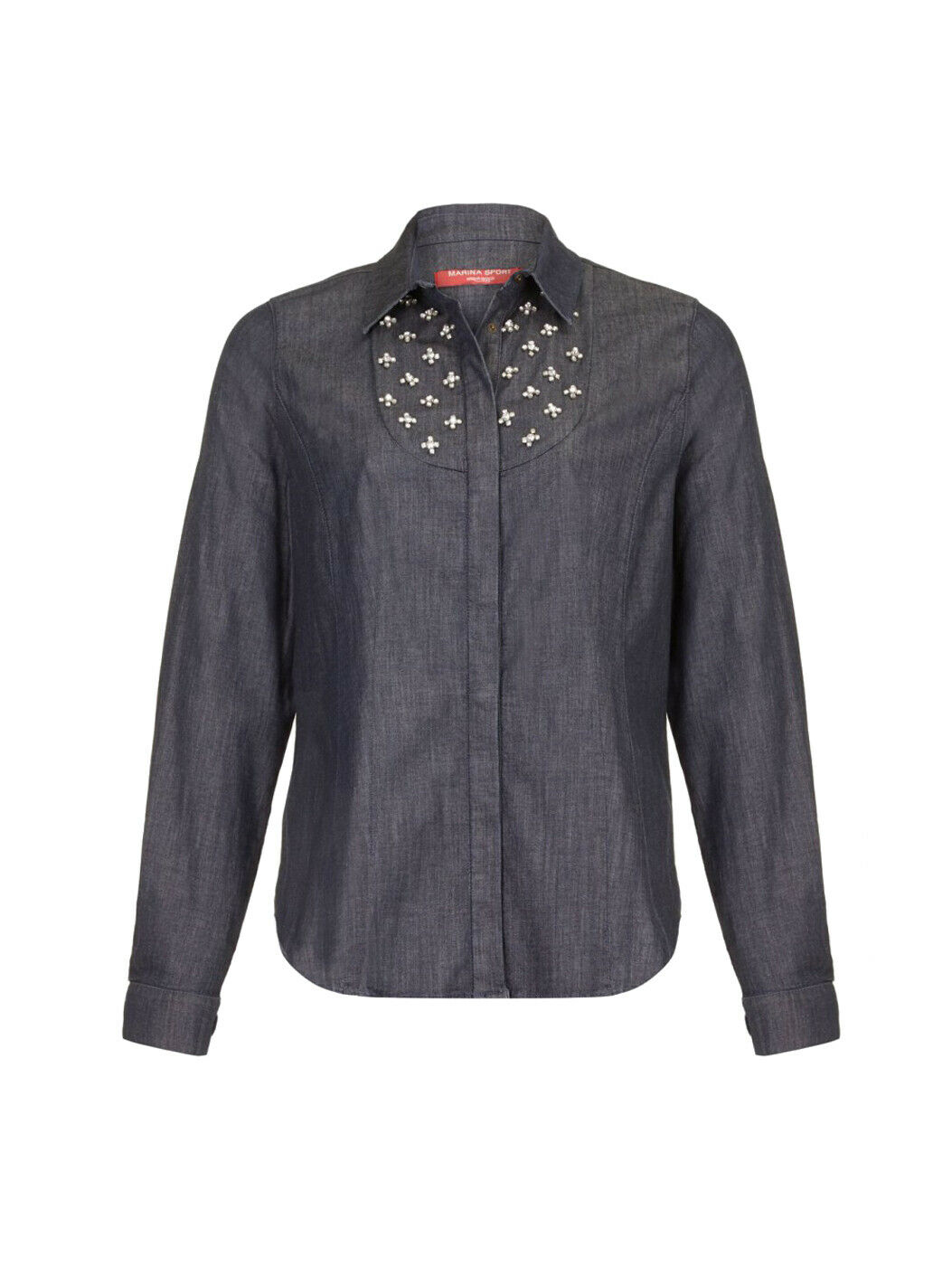 MARINA RINALDI damen Dark Wash Bario Embellished Denim Blouse  NWT