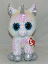 "Ty FLIPPABLES white DIAMOND the Unicorn Shiny sequin Med 10/"" Size Beanie Boos"