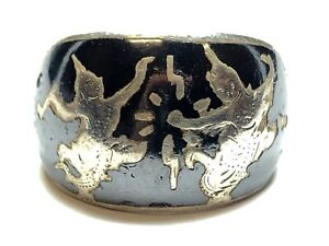 Silver dome ring Ready to ship Vintage niello silver ring