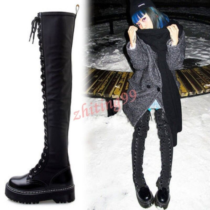 Punks Womens Riding Platform Low Heel Lace Up Over The Knee High Boots Leather