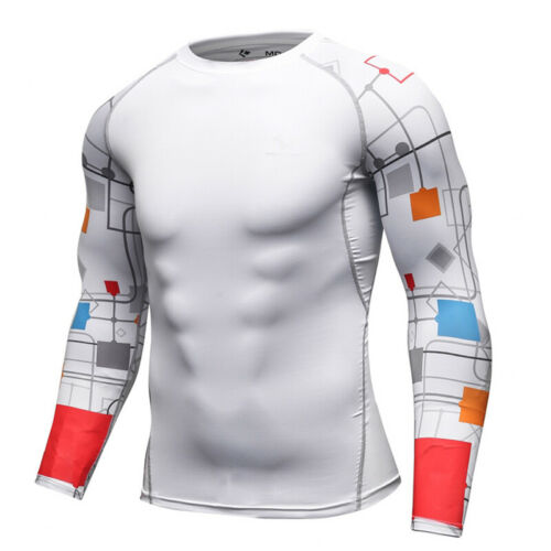 Mens Compression Baselayer T Shirt Althletic Workout Gym Dri-fit Printed Sleeved