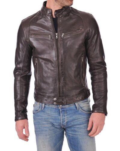 Men/'s Genuine Lambskin Leather Brown Bomber Slim Fit Biker Leather Jacket Coat