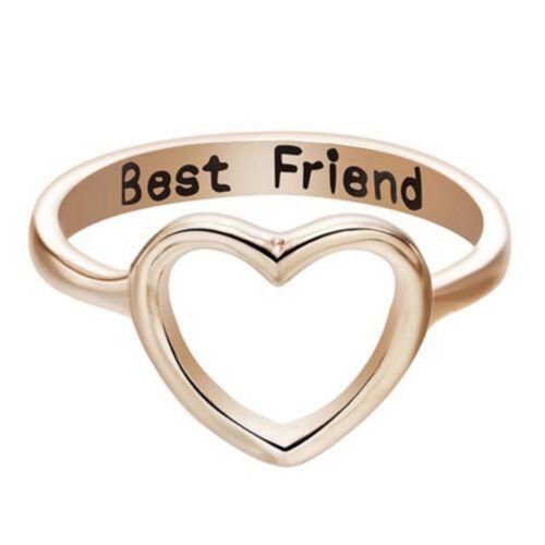 Moda Mujer Anillo mejor amigo de promesa de AMOR Corazón Joyería Bandas de anillos de la amistad