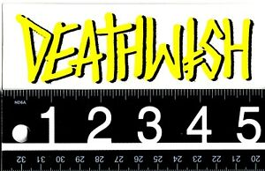 DEATHWISH-SKATEBOARDS-STICKER-Deathwish-Skate-Yellow-5-25-in-x-1-75-in-Decal