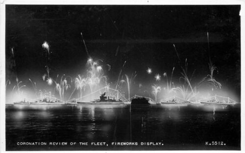 1930s Royalty Coronation Review Fleet Fireworks Display RPPC real photo 1688