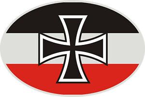 Flagge-Deutsches-Reich-Frosteffekt-oval-Sticker-Auto-SUV-Van-Bike-Handy-Laptop