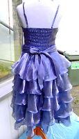 Organza Kleid schimmernd blau violett lila purple Stola Gr. M  38