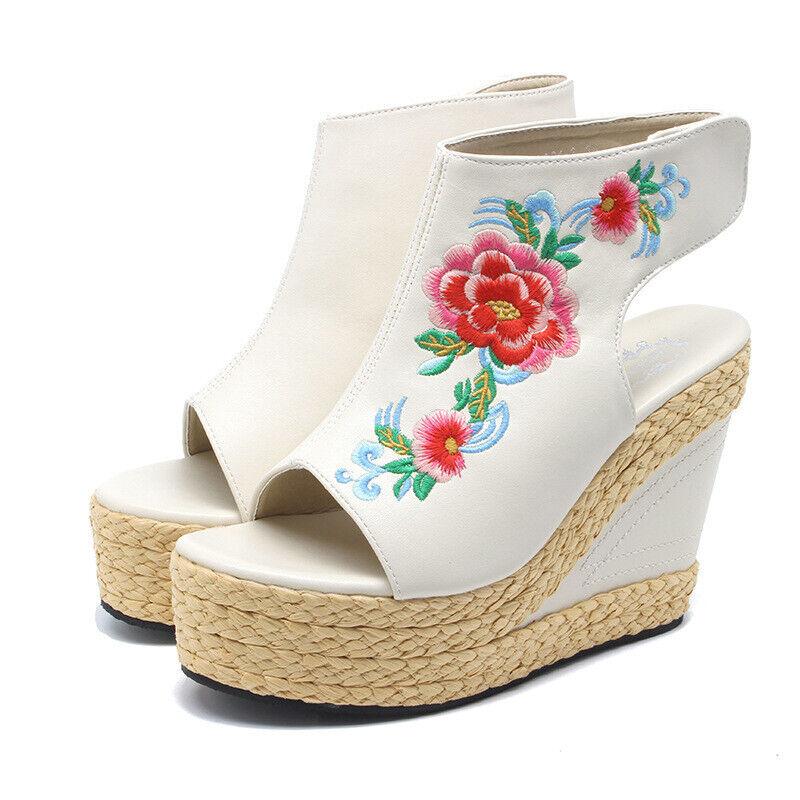 Sandali Sandali Sandali bianco fiori coloreato corda  zeppa plateau 13 cm eleganti e comodi 1141 db743c