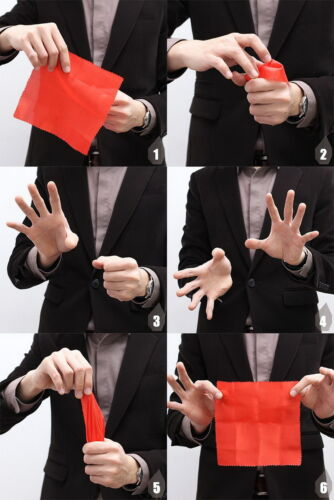 3x Thumb Tip Finger Fake Magic Trick Vinyl Toy Fun Joke Prank Vanish Red Silk UK