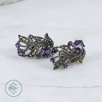 Sterling Silver | Marcasite Amethyst Floral Scroll 11.1g | French Clip Earrings